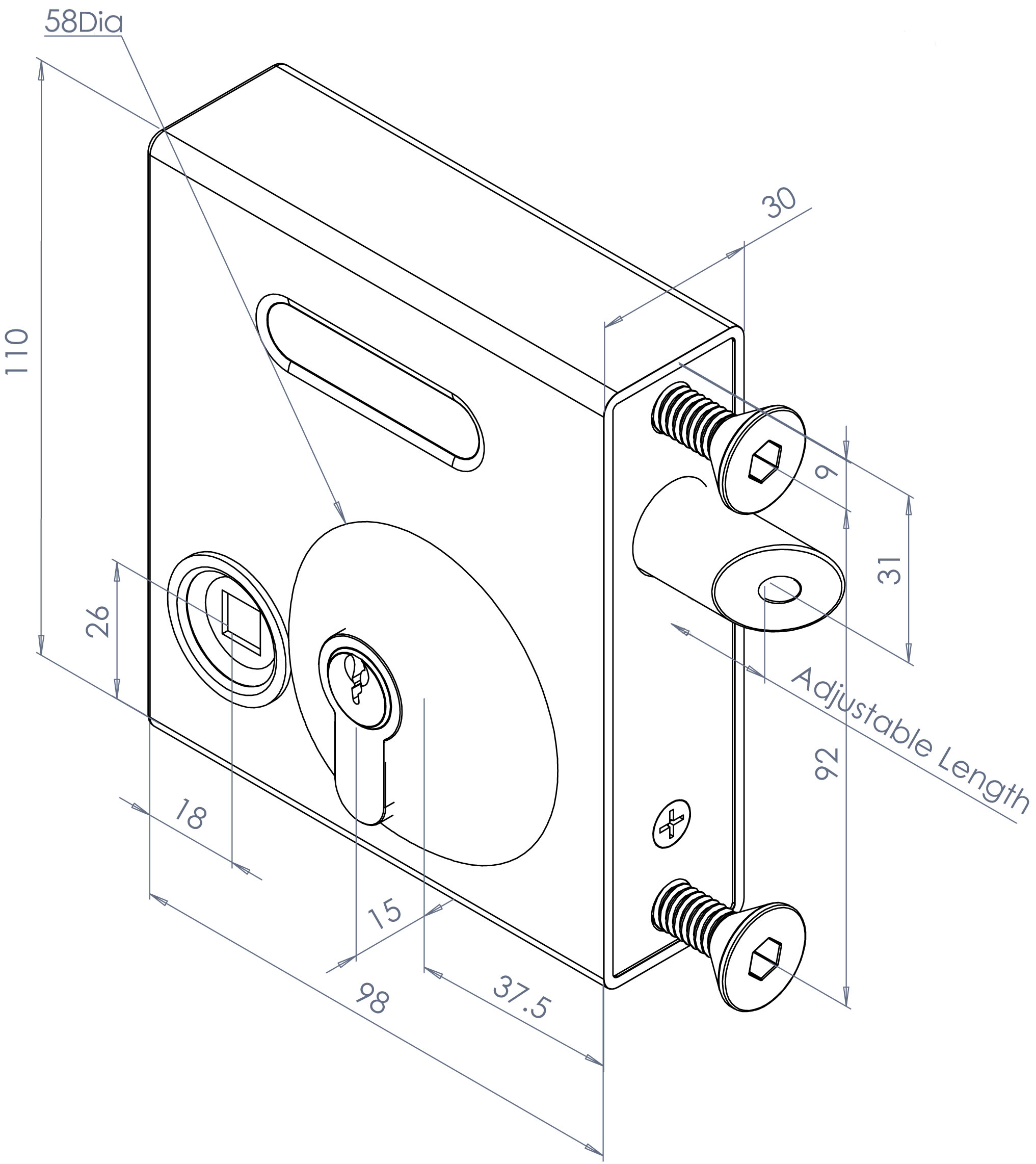 GATEMASTER  Bolt On Latch Deadlock 40mm - 60mm 1602TDH Traditional Handle