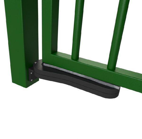 bottom of green metal gate with hydraulic gate closer bottom hinge