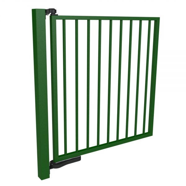 full view of green gate with a hydraulic gate closer top and bottom hinges